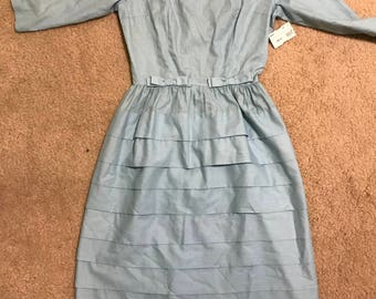 Baby Blue Tiered Vintage Dress