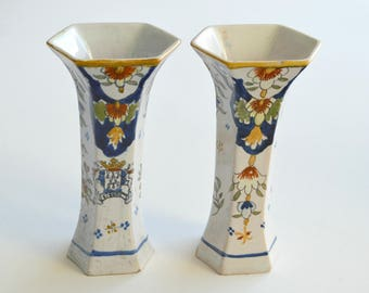 A Pair of 19th C Faience H.Quimper Candlesticks