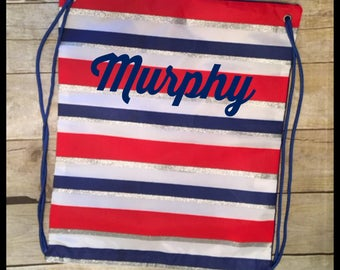 Patriotic Stripes Personalized Cinch Sack!  Monogram Drawstring Bag, Beach Sack, Overnight Bag.  Great gift for kids!