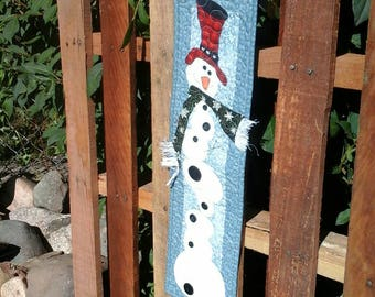 Snowman Wall Hanging Christmas Mini Quilt Holiday Table Topper Seasonal Decor Homemade Quilts Appliqued Gift Winter Wonderland Housewarming