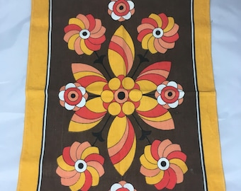 Bright Retro Tea Towel Kitchen Cloth Funky 60s Floral Design Mid Century Modern Home Decor Quirky Housewarming Gift