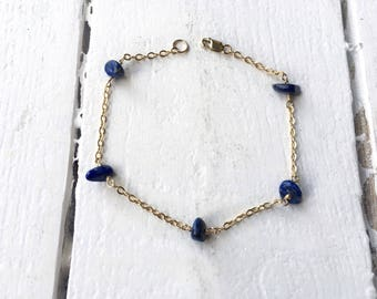 Lapis gemstone anklet/ Gold fill anklet/ blue beaded anklet/ gemstone anklet/ boho anklet