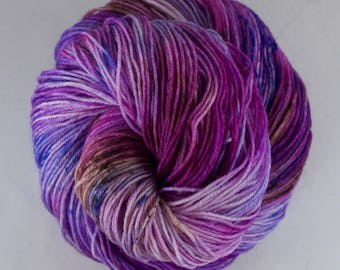 Hand Dyed Sock Yarn, hand dyed wool, variegated sock yarn, speckle sock yarn, nylon sock yarn, pink, purple, brown, blue
