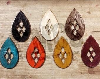 Leather earrings- cutout teardrops- fall leather earrings
