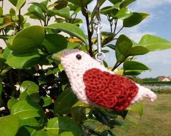 Crochet bird Keyring