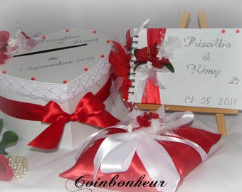 wedding urn with cushion and his red and white guest book