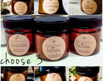 Set of 3 All Natural Whipped Body Butter in a variety of natural scents. Ultra moirturizing whipped body lotion
