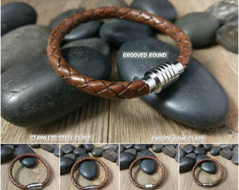 Men's Brown Braided Leather Bracelet Stainless Steel Magnetic Clasp Mans Bracelet Choose Your Clasp