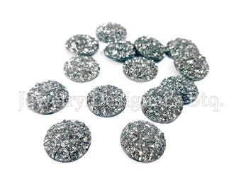 10pcs, 14mm Iridescent Faux Druzy Cabochon, Glitter Resin Cabochons, Wholesale Jewelry Craft Supply Earring Findings, Gunmetal