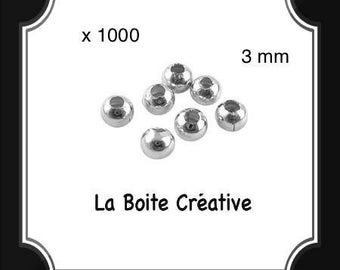 1000 INTERCALAIRES in SILVERED METAL 3 mm round beads
