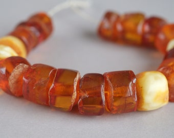 Antique amber beads, Natural amber, Cognac Amber, Honey Color, Milk amber