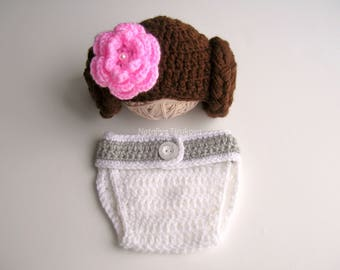 Crochet Princess Leia Hat and Diaper Cover set/Star Wars Outfit/Princess Leia set/Starwars Baby Girl/Star Wars/Halloween Costume