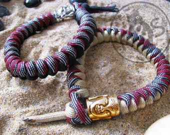 bracelet paracord zen buddha and demon 2 versions gold and black accesory estetic multiuse survival