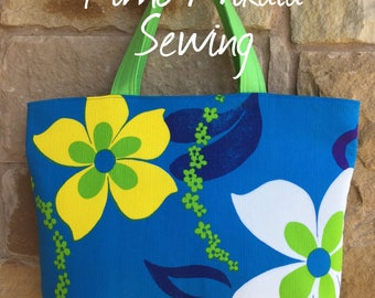 Original Authentic Seventies Tropical Flower Hawaiian Fabric Tote Bag, Beach Bag, Travel Tote