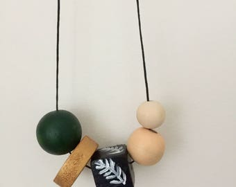 Wooden bead necklace// Jungalow Collection ~ Greens // hand painted wooden necklace