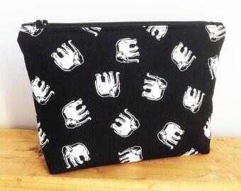 Elephant Gifts - Elephant Bag - Black Makeup Bag - Small Makeup Bag - Best Friend Gift - Elephant Lover Gift - Makeup Pouch