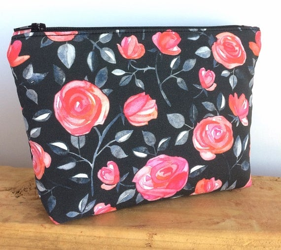 black makeup bag floral pretty zipper pouch make up gift for her small  cosmetic co 17c71b453b092