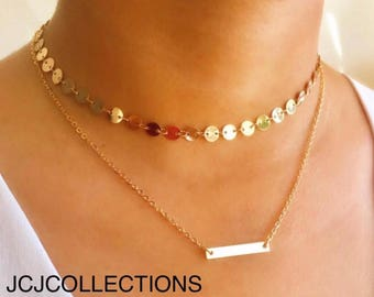 Disc & Bar Chocker Necklace