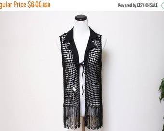 30% OFF VTG 90s Groovy Hippie Goth Fringe Crochet Vest S/M
