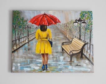 A walk in the rain, Original Art, Acrylic Painting, Colorful Wall Art, Painting on Canvas, Home Decor
