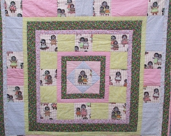 "10% OFF WINTER SALE Hand-made quilt, 100 Percent cotton, scally wags, golly wogs, 41""x41"", one-of-a-kind, rag doll, patchwork quilt, girl bi"