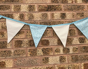 Handmade Bunting Blue Floral and Grey Stripes