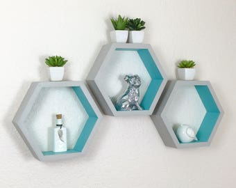 Individual Hexagon Shelf, 2 Tone Shelf, Honeycomb Shelf, Painted Geometric Shelf, Nursery Decor, Display Shelf, Wall Shelf, Dorm Decor