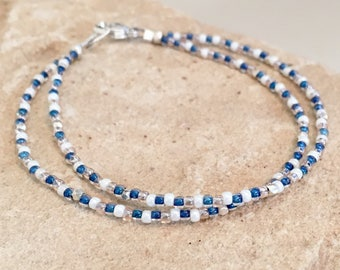 Blue double or single strand Toho seed bead bracelet, Hill Tribe silver bracelet, boho style bracelet, sterling silver bracelet gift for her