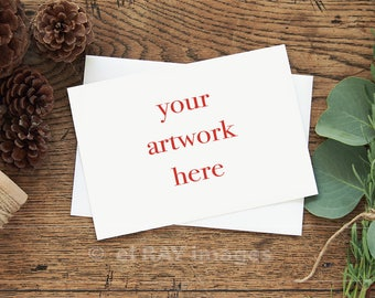 Mockup for Greeting Card  | Horizontal | 5x7 Size Note Card Winter Theme | Styled Stock Photography | Instant Download