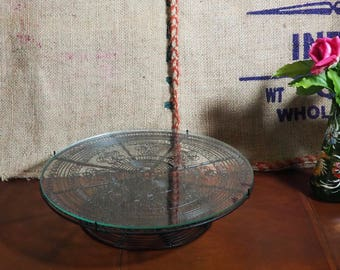 Vintage Glass and Metal Cake Stand. Good Condition Retro,Boho Vintage Glass Old Metal and Wire Cake Stands.