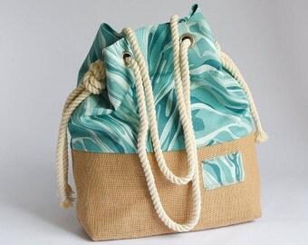 Große handgemachte Hobo Bag Beach Tote Strand Tasche Blue Ocean Baumwolle und hessischen Base Beach Tote