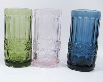 Stunning Heavy Colored Glass Tumblers (3) Pink~Green~Blue Raised Embossed Design