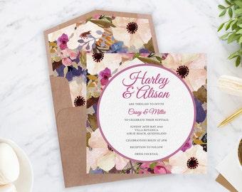 Harley Suite : Printable Wedding Invitation, Floral, Plum, Pink, Custom, Digital Download, Watercolour, Engagement, Shower, Liner, Circle