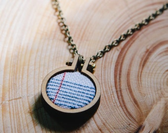 Notepad, Notepad Cross Stitch, Foolscap, Cross Stitch, Necklace, Mini Hoop, Hoop Necklace, Modern Cross Stitch, Minimalist Cross Stitch,