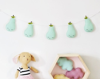 Pear Garland, Pastel Nursery, Baby Summer Party, Tropical Fruit Garland, Pear Bunting, Twin Gift, Summer Decor, Fruit Decor, Nursery Decor