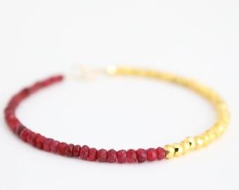 Choose Your Gemstone - Customizable Bracelet - Gemstone and Pyrite Stacking Bracelet - Birthstone Bracelet - 14k Gold Filled - Example: Ruby