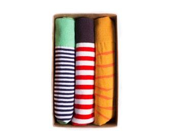 Mr.ZZ 3-Pack Colorful Fun Fashion, Mens Dress Socks, Groomsmen Socks Stripes