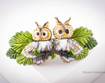 Owl hair french barrettes for women, french hair clip, original hair barrette, clip for women