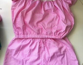 Open shoulder crop top and short pyjama