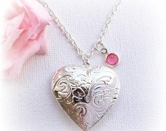 VACATION SALE Silver heart locket, Locket necklace, Locket,Birthstone necklace, Silver heart necklace, Sisters Jewellery,Birthday gift, SPBI