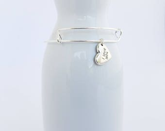 I love you silver color heart charm on a silver plated bangle bracelet- love - marriage - friendship -  sweetheart - bride - girlfriend -