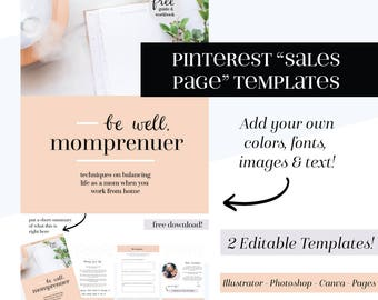 Pinterest Templates, turn your Pinterest graphics into Sales Pages! Social Media Templates, social graphics