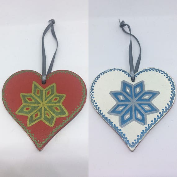 Hand Painted Heart Christmas Tree Decoration 8cm long Red and Gold, Blue and Silver Scandi Style Decoration