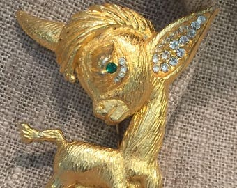 Vintage Donkey Brooch- Gold tone Donkey with Emerald eye and rhinestone ear