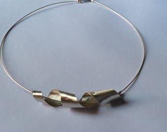 Sterling silver contemporary neck lace. Modern design silver necklace . Contemporary handmade silver neckpiece