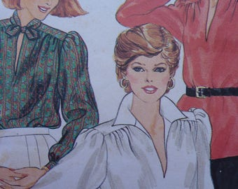 Sewing Pattern for Women Vintage Butterick 4089 Size 14 Blouse Complete Uncut Original Paper Dressmaking Pattern