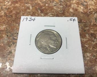1934 Buffalo Nickel in very fine condition