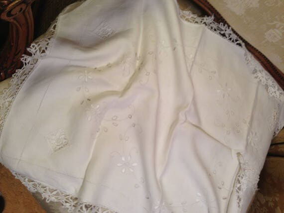 Edwardian pillowcase. Lace and embroidery. 31x22 ins. Strong