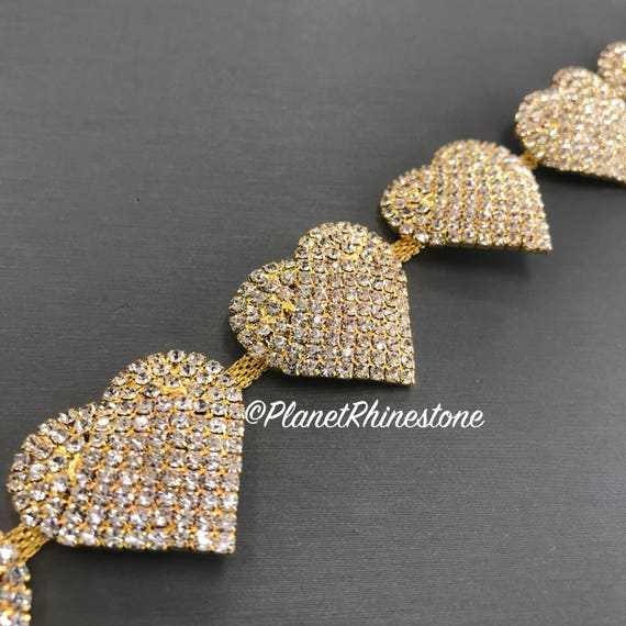 Gold Heart Crystal Trim  #T-E