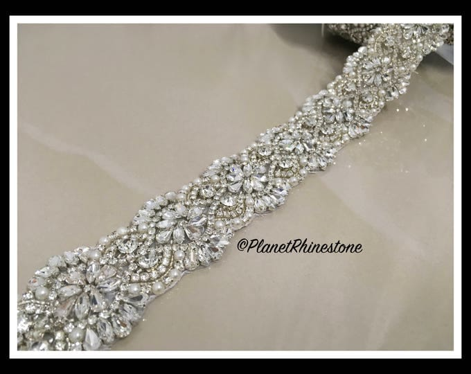 Bridal sash , Bridal belt , Wedding sash sash - crystal and rhinestone beaded applique sash, beaded pearl (Swarovski Shine) #I-12